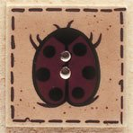 43041 - Ladybug On Square - 1in x 1in